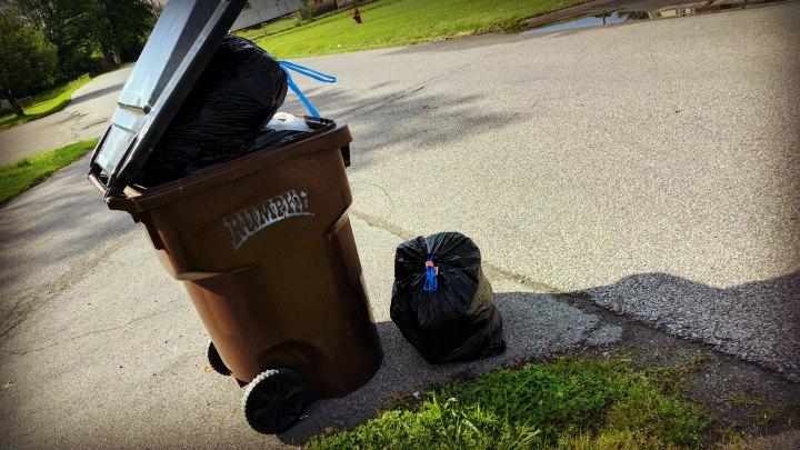 RUMPKE trash can beside road