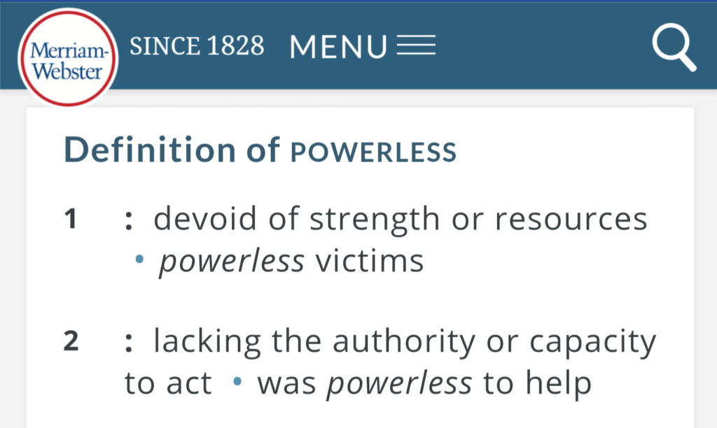 definition of powerless